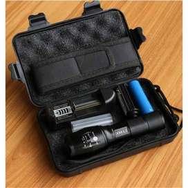 Paket Senter LED E17 CREE XM-L2 8000 Lumens Baterai Charger With BOX