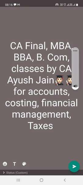 Accounts, Direct n Indirect taxes, financial management costing