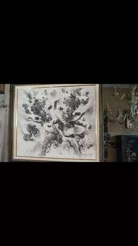 Lukisan Penari Karya Asmara berbahan Kanvas