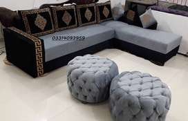 In ternd L shape sofa with beacutiful Clr Combination & Center table