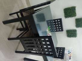 4 seater dining table + 4 chairs - Wooden with additional glass top