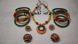 Silk thread jewelry set