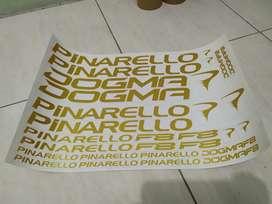 Stiker Striping Sepeda Pinarello Dogma F8, white dan gold metalik