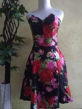 Dress kemben bunga merah PL IMPORT