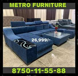 Luxurious Sofa with Table and 2 puffy