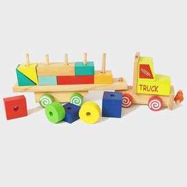Balok Truck Geo Mainan Kayu Edukatif Anak PAUD TK