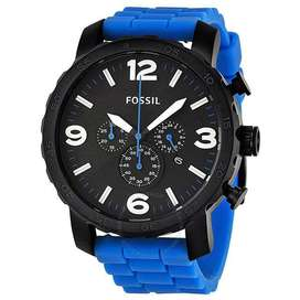 Fossil Nate Chronograph Blue Silicone Men's Watch JR1426