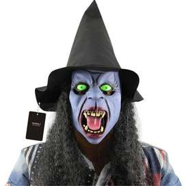 Topeng nenek sihir witch hantu dengan topi dan wig bahan latex ID34