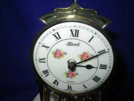 1970 Hermle Germany Quartz Anniversary Clock Glass Dome Country Roses