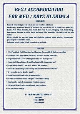 BEST ACCOMODATION FOR MEN / BOYS IN SHIMLA