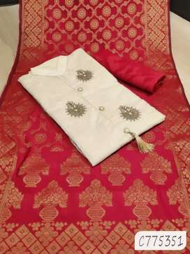 Elegant chanderi gliter work dress materials