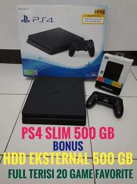 Jual PS4 SLIM 500GB+HDD 500GB Full 20 game
