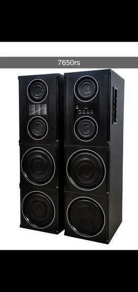 Dj party double tower speaker with bluetooth and wireless mic