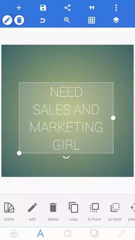 Need experienced girl for sales and marketing