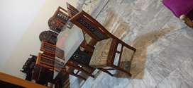 6 Chairs Dinning Table With 12mm Mirror Shasahm Tali Wood