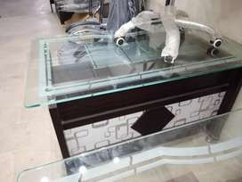 New office table 2½×4 in  12mm glass 3 droz  in Chanel revolvable