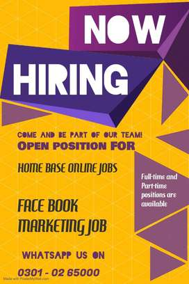 Face book Marketing work available for all earn cash at home