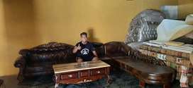 Kursi sofa tamu set dudukan L, kayu jati, finis natural, free ongkir