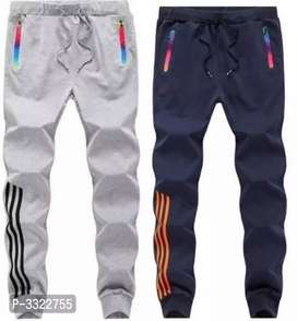 Men's multicolored cotton self pattern slim fit pants (pack of 2)