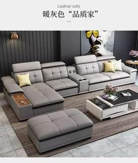 Furniture Sofa Full Kulit High Premium Kursi Tamu Keluarga