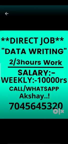 2-3 hours part time job weekly salary 10000 to 40000