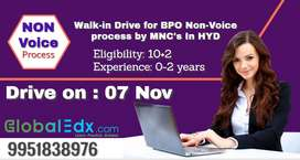 Walk-in Drive for BPO Non-Voice process by Top MNC's In Hyderabad