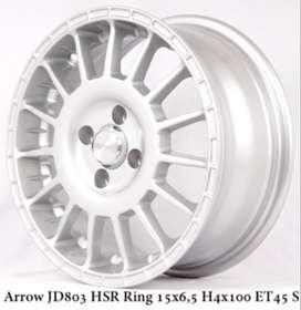 velg racing murah ARROW JD803 HSR R15X65 H4x100 ET45 SILVER