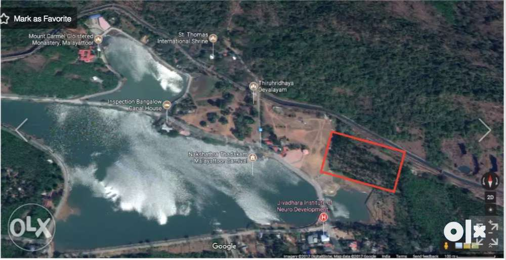 waterfront 4 acre 20 cents property at malayatoor church foothill