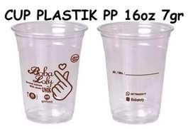 Gelas plastik di sablon terbaru CUP PP 16oz 7gram