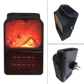 Mini Portable Electric Heater Flame 900W Wall-outlet Space Heater Flam