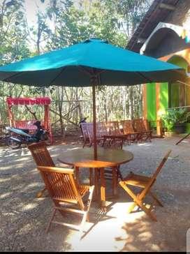 Meja taman bundar,meja payung,meja outdoor,meja parasol,meja cafe