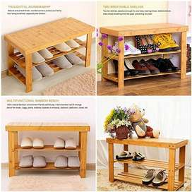 Bamboo 2 Tier Wooden Solid Wood Shoe Rack Organizer @3499