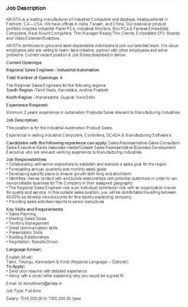 Sales  & Marketing Executive / Engineer- Industrial Automation