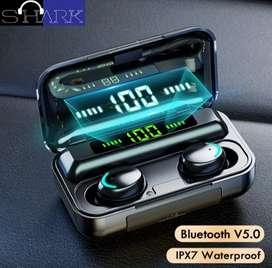 TWS Bluetooth 5.0 Shark F9 Earphone LED Digital