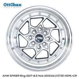 JUAL VELG AHW SPINER R15X7-8,5 H100X114,3 ET35-26 HSML CR JAZZ ,BRIO-