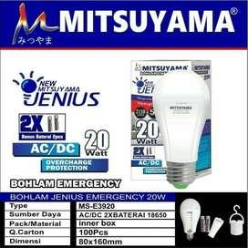 Lampu LED Bulb Emergency Jenius 20w Mitsuyama E3920 + 2 Battery 18650