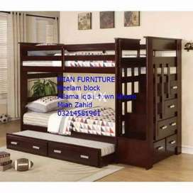 12 Design of Solid wooden bunk bed for three Kids