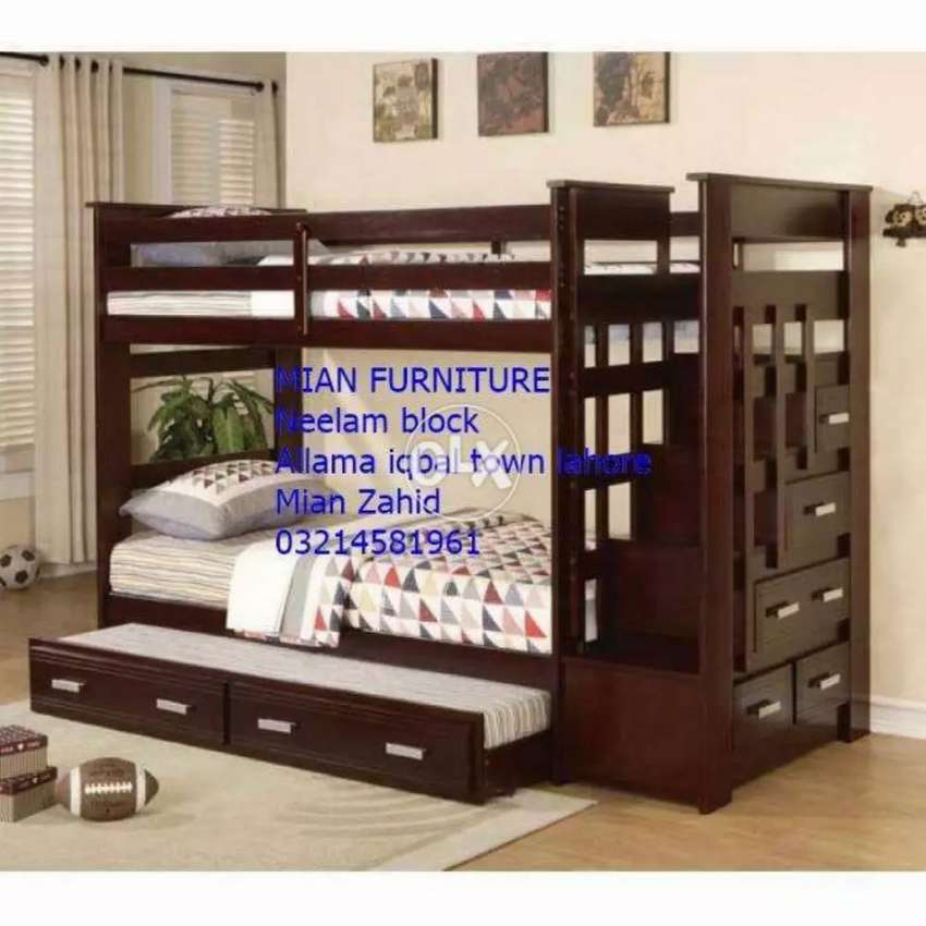 12 Design of Solid wooden bunk bed for three Kids 0