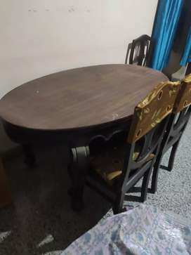 SHEESHAM WOOD DINNING TABLE WITH SIX CHAIR