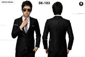 Jas Blazer Pria Slimfit Black Peak Lapel Style – SK103