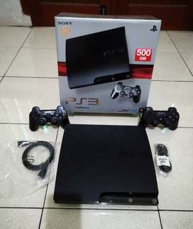 PS3 SLIM 500GB siap gadang Fullset (2 Stik Full 50 game)