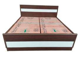 White and brown double designer bed at lowest price