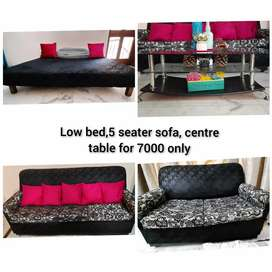 5 seater sofa, centre table, low bed