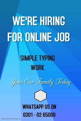 Simple typing job offered for qualified male & female person, daily
