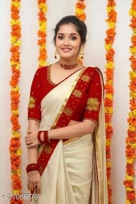 Chanderi Cotton with gold jarri patta and foil work saree