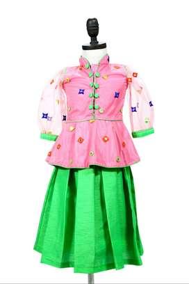 Kids Designer Pink Peplum Top Party Wear Dress for Baby Girls