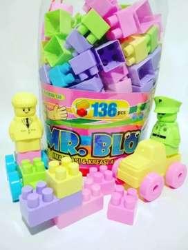 Mainan blok lego besar isi 136 pcs