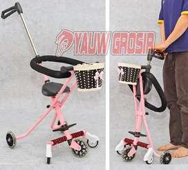 Stroller Exotic bahan Full Metal - Warna Pink