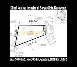 Harga miring: Kavling industry 3,6ha di Surya Cipta,Karawang hny Rp 1,