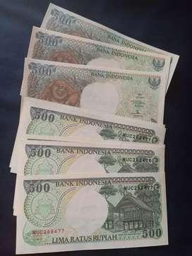 Uang kertas kuno asli nominal 500 rupiah gambar orang utan
